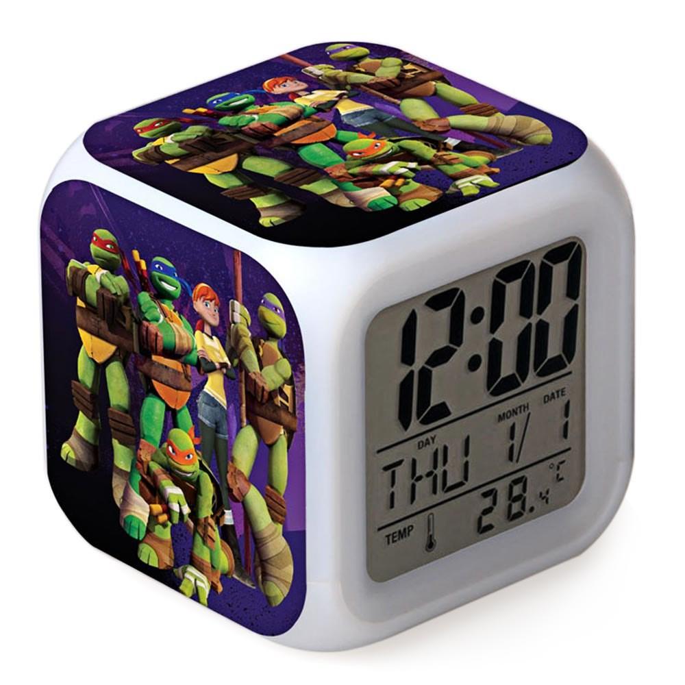 Turtle Pattern Digital Alarm Clock 7 Color Change LED Glowing Gift for Kid