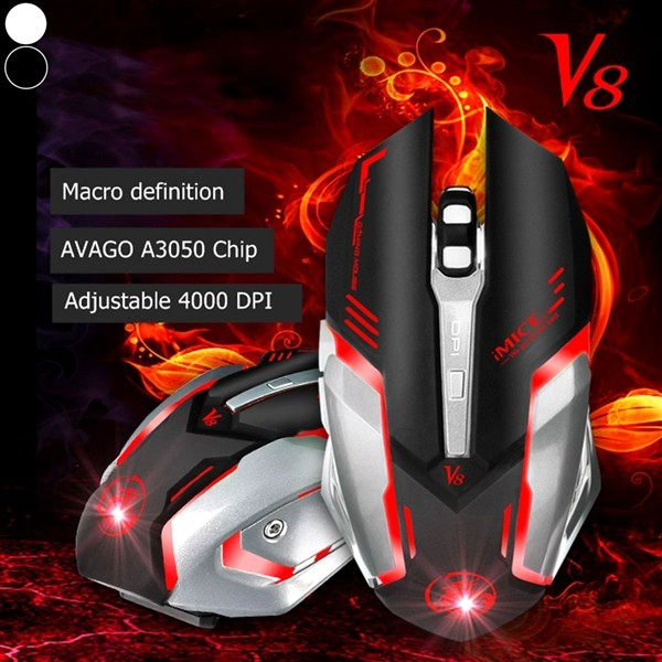 iMice V8 Custom Program Wired Game Mouse 4000DPI 6Button LED Optical Computer